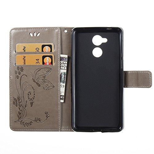 EKINHUI Case Cover Solid Color Faux Leder Bookstyle Brieftasche Stand Case mit geprägten Blumen & Lanyard & Card Slots für Huawei Changxiang 6s und 6C ( Color : Purple ) Gray