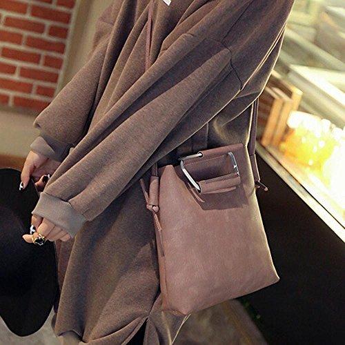 Longra Adatti a donne colore puro borse a spalla in pelle artificiale Rosa