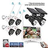 Tonton8CH Kit de surveillance audio avec écran LCD Full HD 10,1+4caméras+2lampes solaires avec microphone Disque dur 1To Boîtier en métal+PIR détecteur