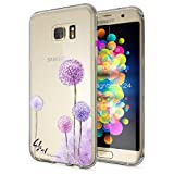 NALIA Handyhülle für Samsung Galaxy S7 Edge, Slim Silikon Motiv Case Hülle Cover Crystal Schutzhülle Dünn Durchsichtig, Etui Handy-Tasche Backcover Transparent Bumper, Designs:Dandelion Pink