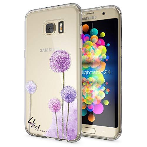 galaxy s 7 edge huelle NALIA Handyhülle für Samsung Galaxy S7 Edge, Slim Silikon Motiv Case Hülle Cover Crystal Schutzhülle Dünn Durchsichtig, Etui Handy-Tasche Backcover Transparent Bumper, Designs:Dandelion Pink