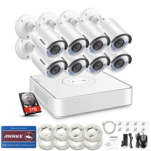 ANNKE 8CH 1080P POE NVR System mit 8PCS 960P Surveillance IP Netzwerk Sicherheit Kamera Outdoor mit 3TB Festplatte IR Nachtsicht, Bewegungserkennung und Fernzugriff (8ch Poe Sicherheit Kamera-system)