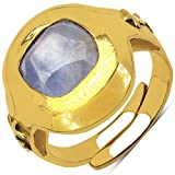 Johareez 6.25 Ratti Blue Sapphire Cushion Shape Saturn Planet Sign Embossed Gold Plated Asthadhatu Ring