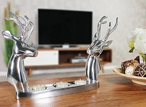 FineBuy Moderner Aluminium Teelichthalter REH mit 2 Hirschköpfen Silber   Geschenkidee Alu glänzend 35 x 26 x 6 cm   Dekoartikel