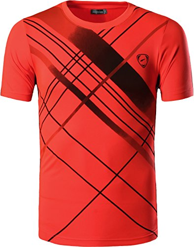 afdd7c8ec1b Jeansian Hombre Camisetas Deportivas Wicking Quick Dry tee T-Shirt Sport  Tops LSL133 Orange XL