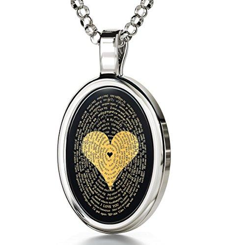 Nano Schmuck 14k Weißgold Ich Liebe Dich Halskette Graviert in 120 Sprachen mit 24k auf 15x21mm Schwarzem Onyx Anhänger, 45cm Silberkette