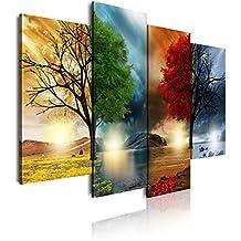 DekoArte Cuadro Moderno de 4 Piezas con Diseño Naturaleza Cuatro Estaciones, Tela, Multicolor, 120x3x90 cm