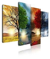 Idea Regalo - Dekoarte 248 - Quadro moderno su tela montato su telaio in legno di 4 pezzi, paesaggio delle quattro stagioni dell'anno, 120x90cm