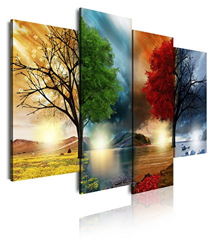 DekoArte 248 - Cuadro moderno lienzo 4 piezas paisaje