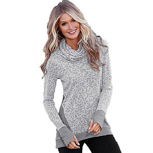 OverDose Damen Lose beiläufige lange Hülsen Pullover Lange Tops Shirt Grau