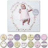 Lulujo Baby-Decke Swaddle mit 14 Monats-Karten Baby-Karten zum Fotografieren und festhalten der ersten Entwicklungsschritte Ihres Babys im ersten Lebensjahr
