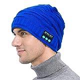 Bluetooth Music Hat - Winter Warm Wireless Bluetooth Headset Strickmütze In Mic Stereo-Lautsprechern Gebaut Oder Laufen, Camping, Skifahren,Blue