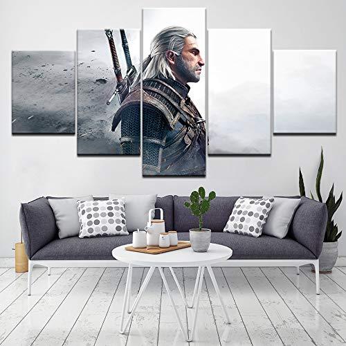 Xutongrui The Witcher 3: Juego De Videojuegos De Caza Salvaje De 5 Piezas Impresión De La Lona Del Arte Moderno Cartel Pintura Del Arte Modular Para La Sala De Estar Decoración