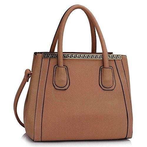 - 511vaUuKsmL - Womens Designer Shoulder Handbags Ladies Celebrity Style Faux Leather Tote Bags (H – Nude)