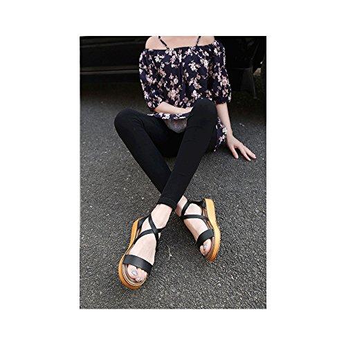 Sandali donne del mollete larga misura della moda Nero (nero)