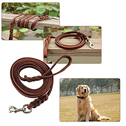 OFTEN 2.5m Hand-crafted Brown Soft Leather Dog Slip Over Loop Hoop Training Leash Lead Long Strong 3