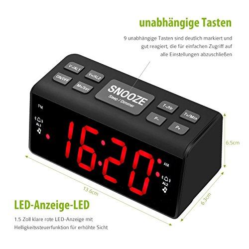 Radiowecker HoLife FM/AM Uhrenradio Digitales Uhren-Radio LED Wecker LED-Display Dual-Wecker mit Schlummerfunktion Schwarz - 3