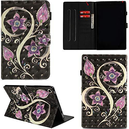 Ooboom Amazon Kindle Fire HD 10 10.1 Tablet Hülle 3D Flip PU Leder Schutzhülle Stand Tasche Brieftasche Wallet Case Smart Cover für Neue Fire HD 10-Tablet (10,1 Zoll) - Blume Lila -