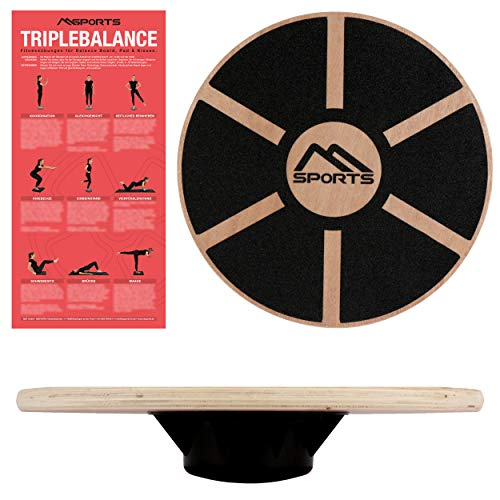 MSPORTS Balance Board aus Holz 39 cm Durchmesser inkl. Balance Übungsposter Therapiekreisel Physiotherapie Wackelbrett