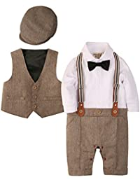 Zoerea 3tlg Baby Jungen Bekleidungssets Strampler + Weste + Hut Fliege Krawatte Anzug Gentleman Festliche Taufe Hochzeit Langarm Baby Kleikind für Frühling Herbst