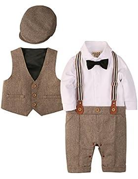 Zoerea 3tlg Baby Jungen Bekleidungssets Strampler + Weste + Hut Fliege Krawatte Anzug Gentleman Festliche Taufe...