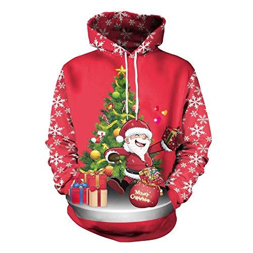 Kapuzenpullover Für Weihnachten, Weihnachtskostüm, 3D Santa Print Pullover -