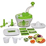 Clickon 10 In 1 Plastic Manual Food Processor / Dough Maker / Atta Maker / Vegetable Cutter / Slicer / Grater / Cutter
