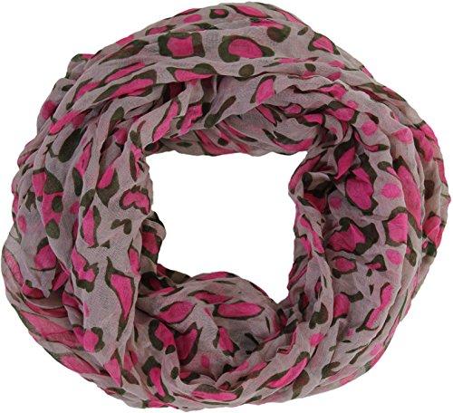 Loop Schlauchschal mit farbigen Flecken Grau / Pinke Flecken (Baumwolle Farbige Schal Seide)