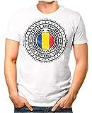 OM3® - Romania - Herren T-Shirt Rumänien Wappen Fußball Trikot EM'16 WM Championship Vintage Weiß S