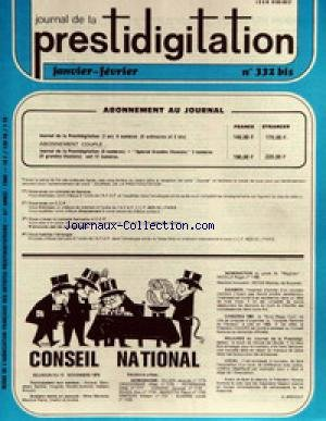 JOURNAL DE LA PRESTIDIGITATION [No 332] du 01/01/1980 - CONSEIL NATIONAL - G. BRICOUT. par Collectif