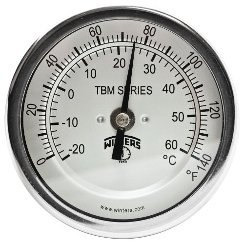 Winters TBM Series Stainless Steel 304 Dual Scale Bi-Metal Thermometer, 2-1/2 Stem, 1/2 NPT Fixed Center Back Mount Connection, 3 Dial, 0-140 F/C Range by Winters