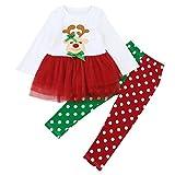 Disfraz Navidad Bebe Niña 1-6 años Reno Princesa Tutu Vestido Tops + Pantalones con Lunar Ropa Navidad Conjunto / 2PC