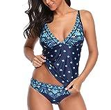 Innerternet Badeanzug Damen Push up Bademode Elegant Farbdruck Top mit Slip Tankinis Bademode Große Größen Bikini Sets Zweiteilige Swimsuits Strandmode