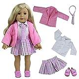 ZITA ELEMENT 5 Stück Uniform Kleid Outfit Set für 18 Zoll American Girl und die Anderen 45-46cm Puppen Kleidung Mantel Rock Hemd Schuhe Krawatte Schuluniform