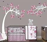 Sayala Baum Wandtattoo-3 Baby Koala Wandaufkleber-Babyzimmer Tierwelt Baby Wandaufkleber Kleinkind Sticker Mädchenzimmer Wanddekor (Weiß)