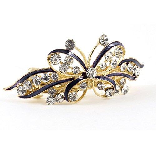 Lady Faux Strass Akzent Lila Schmetterlings-Entwurfs-Haarspange Clip -
