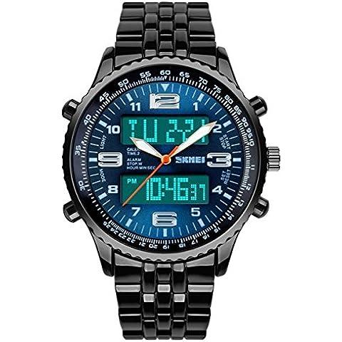 TTLIFE 1032 Caso lega con Mens Resistente all'acqua display LED Orologi sportivi analogico digitale da polso al quarzo - Automatico Blu Mens Watch