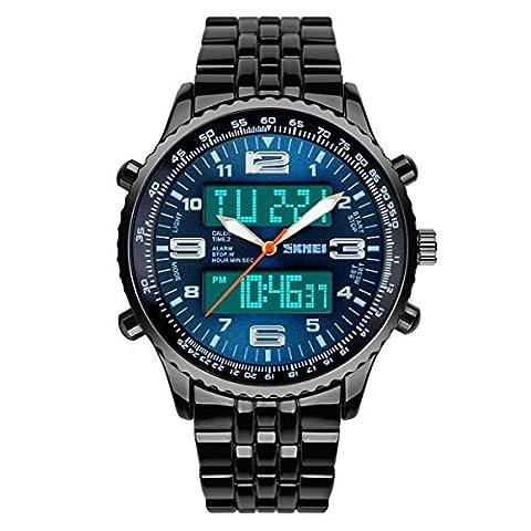 TTLIFE 1032 r¨¦sistant ¨¤ l'eau Affichage Montres Sport num¨¦rique analogique LED homme-bracelet ¨¤ quartz Bo?tier en alliage avec - Automatico Blu Mens Watch