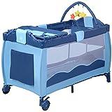 GOPLUS Kinderreisebett Reisebett Klappbett baby Kinderbett Babybett Baby Klappbett faltbar farbwahl mit Tragetasche Spielbogen (Blau)