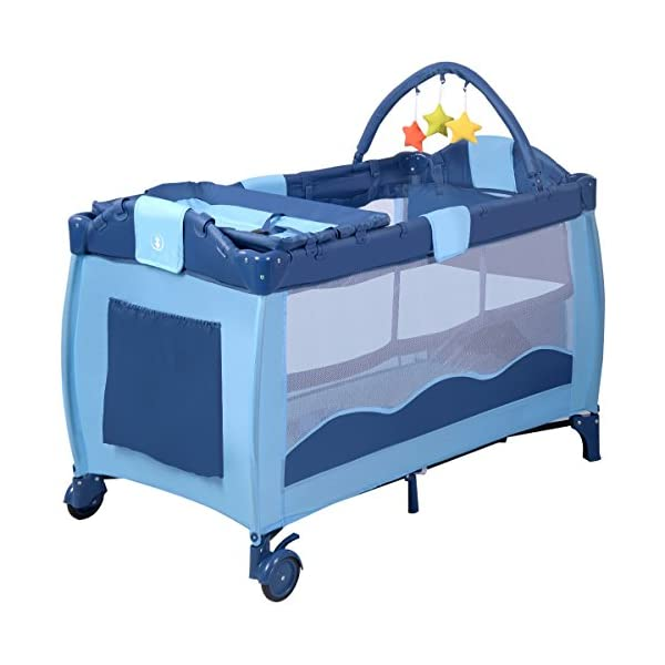 COSTWAY Portable Infant Baby Travel Cot, Bed Play Pen, Child Bassinet Playpen Entryway, with Mat 2 in 1 (Blue) Costway 【Excluded locations】Guernsey, JERSEY, Channel Islands, Isle of Man, Scilly Isles, Scottish Islands, PO BOX 【Folded Design】Due to its folding design, you can take it to anywhere as you like by packing it in the supplied carry bag, and it just takes you a while to fold or unfold it before using. 【See-through safety mesh】It features mesh cloth on both sides, this netted areas allow your baby to see out clearly as well as an onlooker to see in to her/him, and it also offers great ventilation for your baby. 5