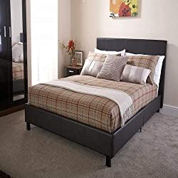 Home Source Modern Low Brown Faux Leather Bedstead Bed Frame with Wooden Slats - Small Double