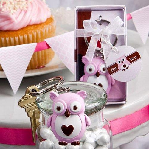 Kleine süße rosa Eule Schlüssel Kette-Gastgeschenken Baby Dusche Taufe Favor Party Geburtstag Geschenk Geschenk