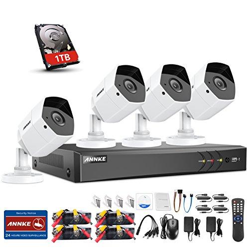 ANNKE Überwachungskamera Set, 8CH 3.0MP TVI DVR Recorder + 4*3MP Bullet Überwachungskameras, Bewegungserkennung, Smart Search/Playback (1TB HDD)
