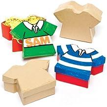 Cajitas en forma de camisetas que los niños pueden pintar, decorar y personalizar para regalar en el Día del Padre (pack de 4).