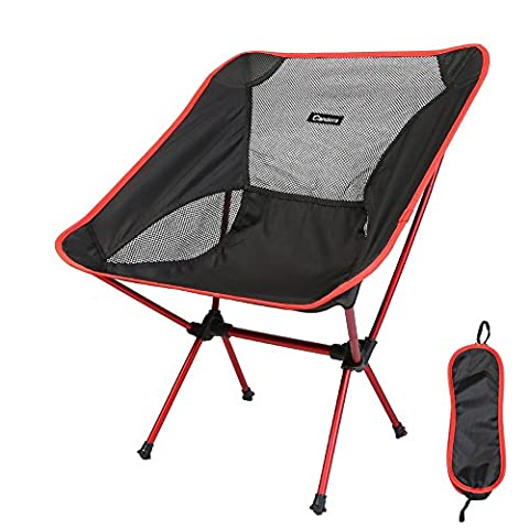 Candora™Portable Ultralight Folding Chair, with Carry Bag Heavy Duty 330lbs Capacity Foldable Seat for Picnic Hiking Fishing Camping Garden BBQ Beach Patio Outdoor & Indoor Activities (Red)