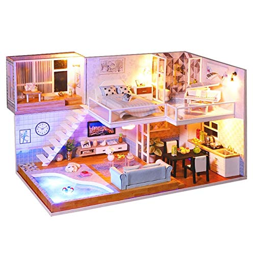 HAM-Fit Puppenhaus Miniatur Puppenhaus mit Möbel Kit Holzhaus Miniaturas Spielzeug für Kinder,NJ-2