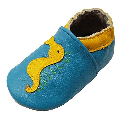 Yalion Baby Weiche Leder Lauflernschuhe Krabbelschuhe Hausschuhe Lederpuschen Seepferdchen (0-6 Monate EU, Himmelblau)
