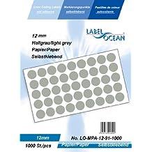 1000 Markierungspunkte, 12mm aus Papier, (Farbpunkte, farbige Klebepunkte), hellgrau von LabelOcean (R), LO-MPA-12-91-1000, Vielzwecketiketten