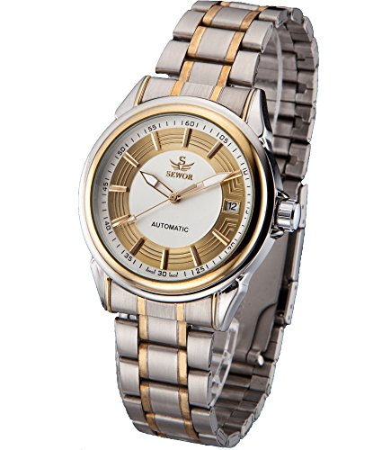 SEWOR Mens Automatic Mechanical Self Wind Wrist Watch with Vintage Design (Platinum)