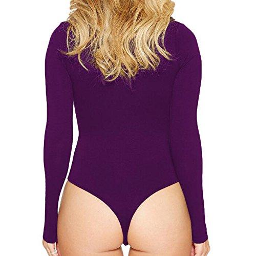 Maniche corte BodyTocket da donna Zip Sexy Maniche lunghe a maniche lunghe Zip Zip Highdas Viola